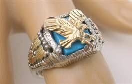 Vint Sterling 10k Black Hills Gold Ring 8 Eagle