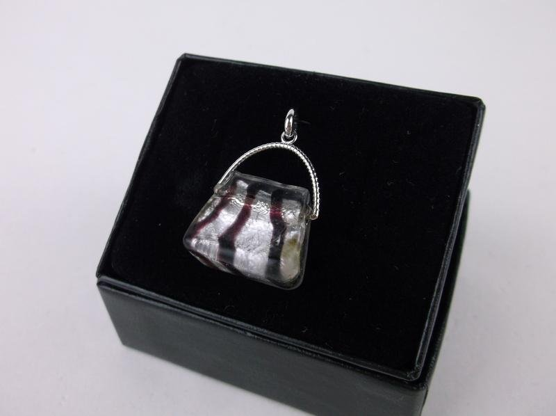 New Boxed 14kt White Gold Purse Pendant Large