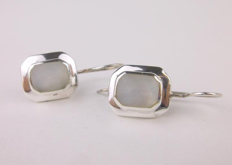 Stunning Sterling Silver MOP Long Hook Earrings