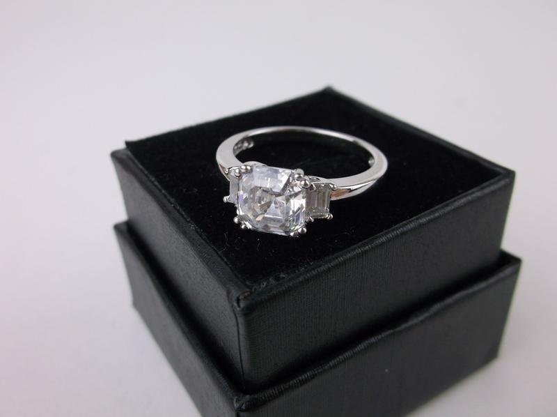 New Boxed Sterling Silver Engagement Ring 7.25