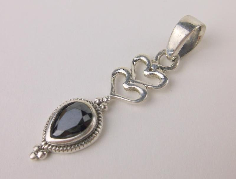 New Sterling Silver Black Obsidian Pendant