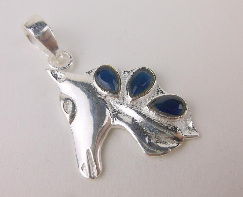 New Sterling Silver Blue Stone Horse Pendant