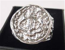 Antique Boxed Sterling Stag Wax Seal Signet Ring 11