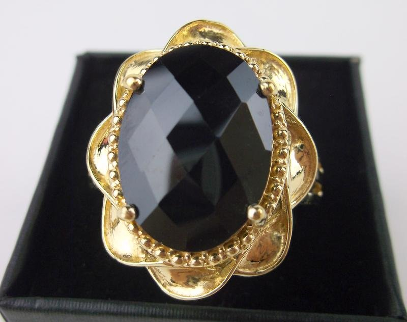 New Boxed Huge Sterling Silver Black Obsidian Ring 11