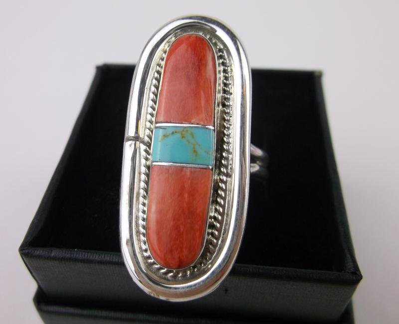 Victor Thompson Navajo Sterling Turquoise Ring 8