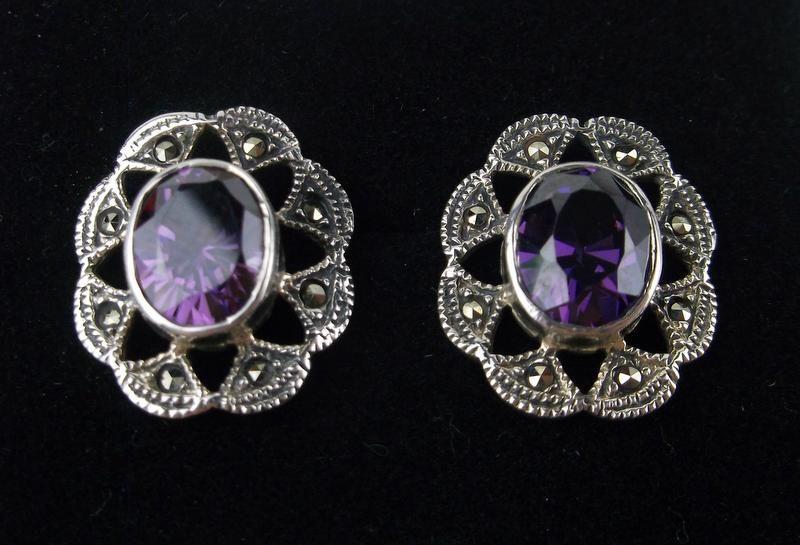 Stunning Sterling Amethyst Marcasite Stud Earrings