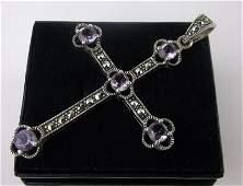 Stunning Large Sterling Amethyst Cross Pendant