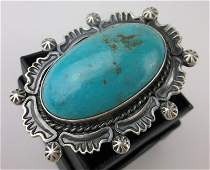 GIANT Navajo Harold Joe Sterling Turquoise Ring 7 HUGE