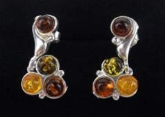 New Sterling Silver Genuine Amber Stud Earrings