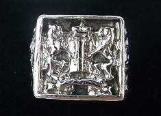 Antique .999 Fine Silver Emperor Wax Signet Ring 9.5