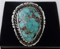 Huge Navajo Betta Lee Sterling Turquoise Ring 85