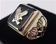 Stunn Vint 10kt Black Hills Gold Onyx Eagle Ring 9.5