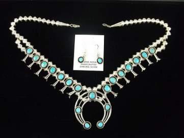Navajo Lenora Garcia Sterling Squash Blossom Necklace