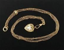 Antique 1910s 12kt GF Opal Pocket Watch Chain 14 Heart
