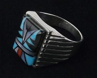 Navajo Sam Begay Sterling Silver Multi Stone Ring 9.5