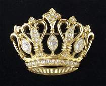 Mint Kenneth J Lane Rhinestone Crown Brooch Vintage