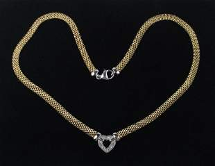 New Gold Over Sterling Genuine Diamond Necklace 18""