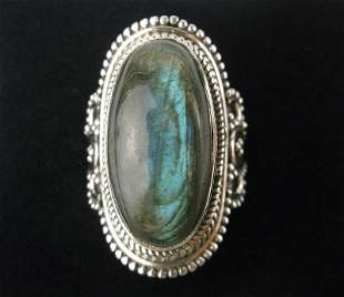New Boxed Large Bali Sterling Silver Labradorite Ring 7