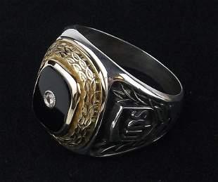 Huge Rare Sterling 10kt Gold Diamond UPS Ring 13
