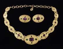 Mint Vintage Jackie Collins Necklace Earrings Set