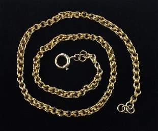 """Stunning 1920s 10kt Gold Pocket Watch Chain 15"""" Heavy"""