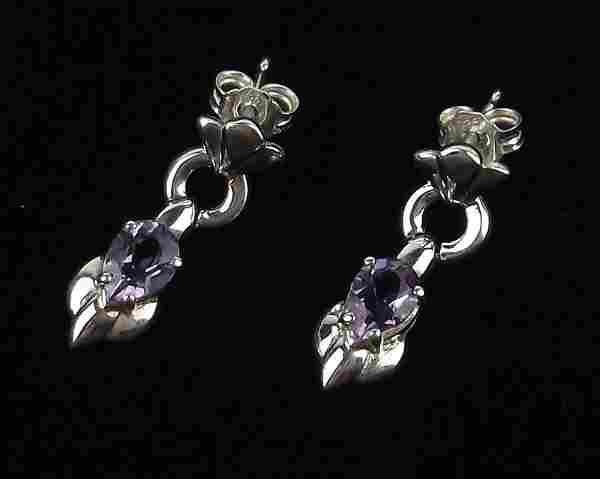 Stunning Sterling Silver Amethyst Drop Stud Earrings