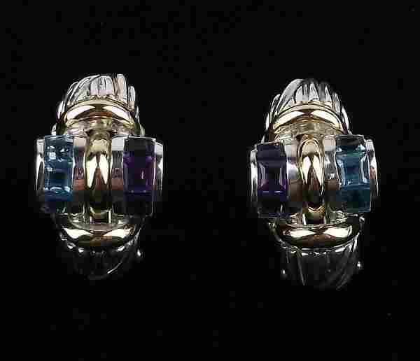 Mint Sterling 18kt Gold Topaz Amethyst Earrings Heavy