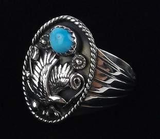 Navajo Jeannette Sanders Sterling Turq Eagle Ring 12