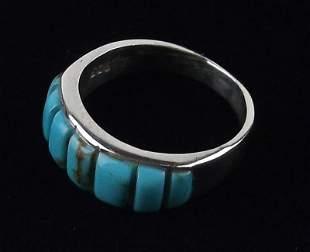 Navajo Rita Ybarra Sterling Silver Turquoise Ring 7