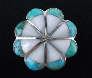 Stunning Vintage Zuni Sterling Turquoise MOP Ring 7