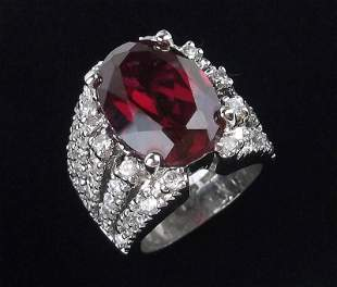 Stunning Huge Sterling 14ct Ruby Ring 6 Heavy