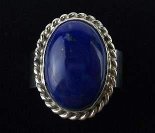 Navajo Augustine Largo Sterling Silver Lapis Ring 8