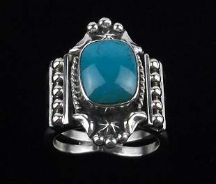 Navajo Grace Kenneth Sterling Silver Turquoise Ring 6
