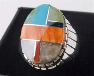Huge Navajo Ray Jack Sterling Silv Multi Stone Ring 11