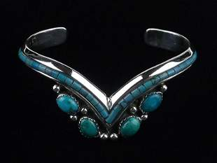 Navajo Lee Brown Sterling Turquoise Cuff Bracelet Thick