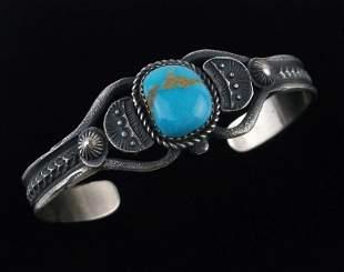 Navajo Eva Billah Sterling Turquoise Cuff Bracelet