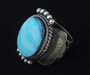 Navajo Mike Smith Sterling Silver Turquoise Ring 7.5