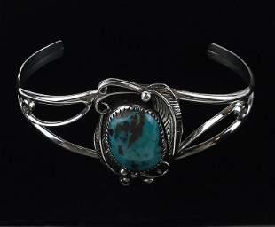 Navajo Richard Begay Sterling Turquoise Cuff Bracelet