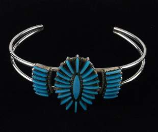 Zuni Carla Laconsello Sterling Turquoise Cuff Bracelet