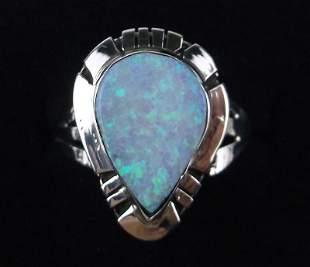 Navajo Calvin Spencer Sterling Silver Opal Ring 5.5
