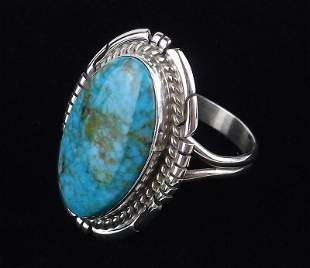 Navajo Dave Skeets Sterling Silver Turquoise Ring 8.5