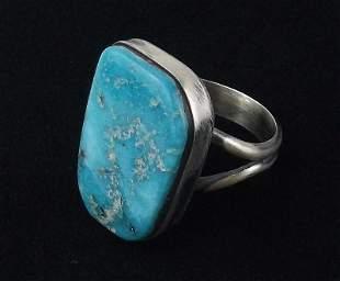 Navajo Eli Skeets Sterling Silver Turquoise Ring 7