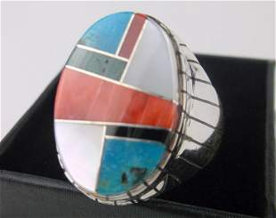 Huge Navajo Ray Jack Sterling Multi Stone Ring 12