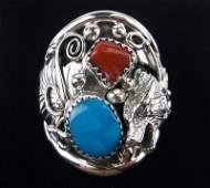 Huge Navajo Jeanette Sanders Sterling Wolf Turq Ring 12