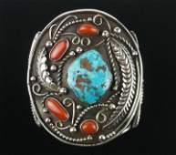HUGE 1950s Navajo Sterling Turquoise Cuff Bracelet OLD