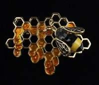Mint Enameled Rhinestone Bee Beehive Honey Brooch