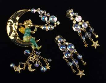 New Boxed Kirks Folly Pipe Dream Fairy Brooch Earrings