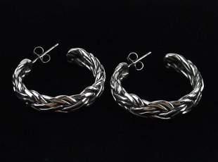 Mint Heavy Taxco Sterling Silver Hoop Earrings Thick