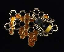 Mint Enameled Rhinestone Beehive Bee Brooch Honeycomb