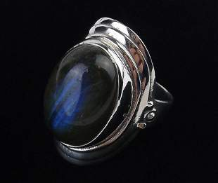 New Sterling Silver Labradorite Ring Size 7.5